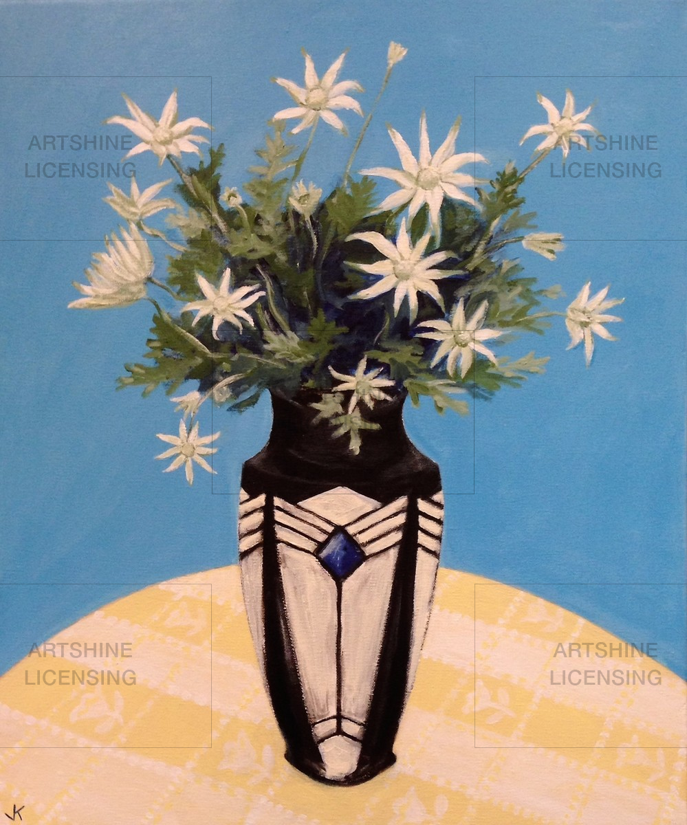 Flannel Flowers in French Art Deco Vase
