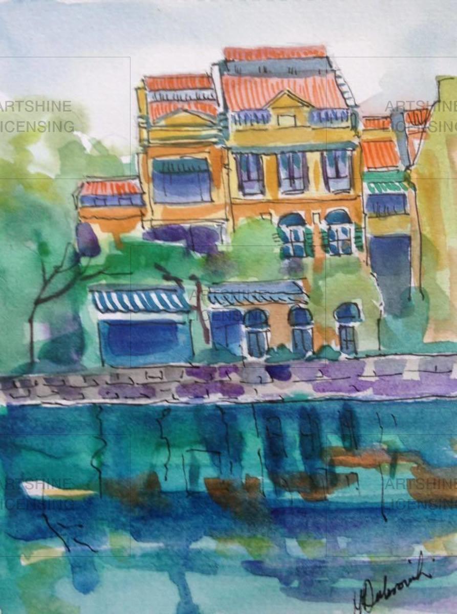 Singapore River & Houses - SINGAPORE