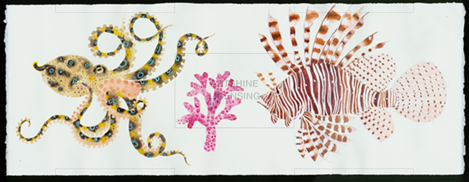 Blue ringed octopus and lionfish