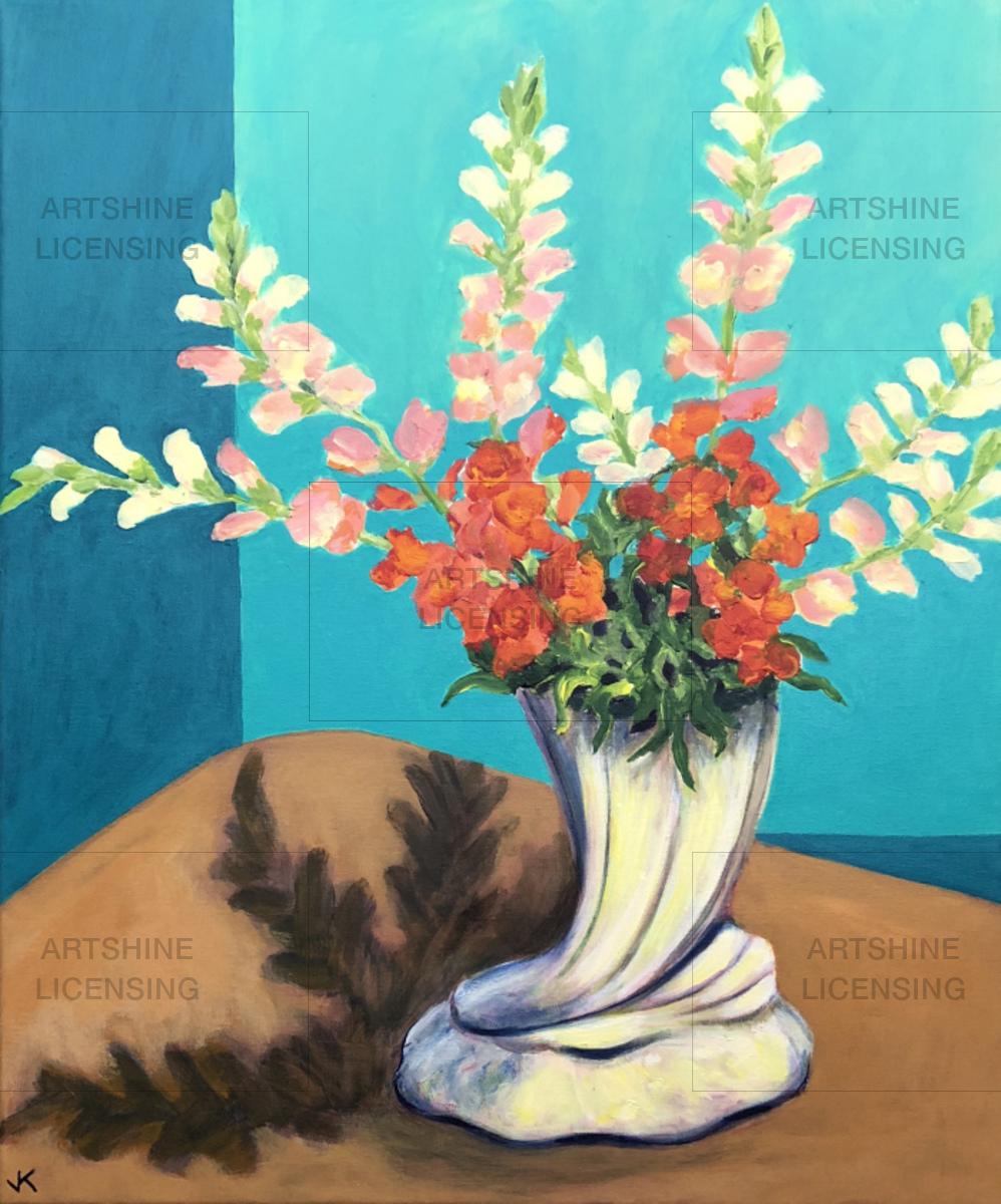 Snapdragons in Cornucopia Vase