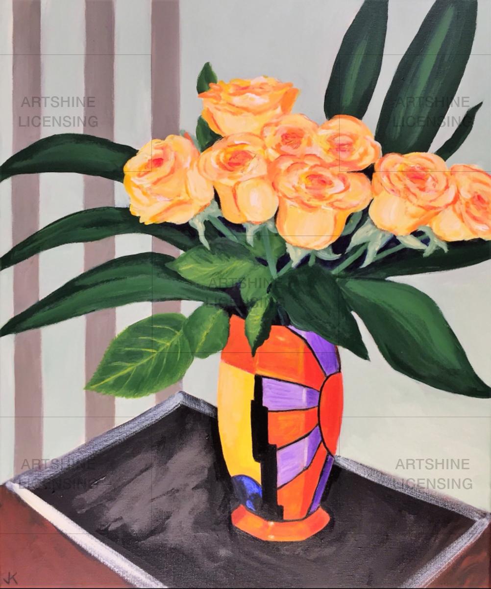 Yellow Roses in Clarice Cliff Vase