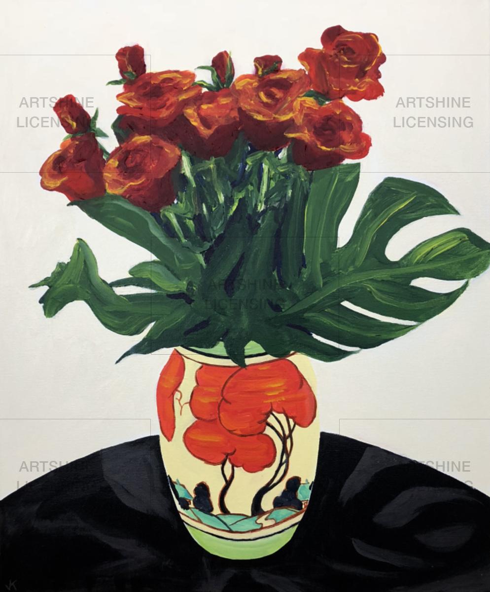 Red Roses in Clarice Cliff Vase