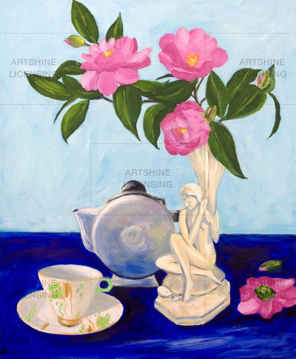 Camellias in Art Deco vase