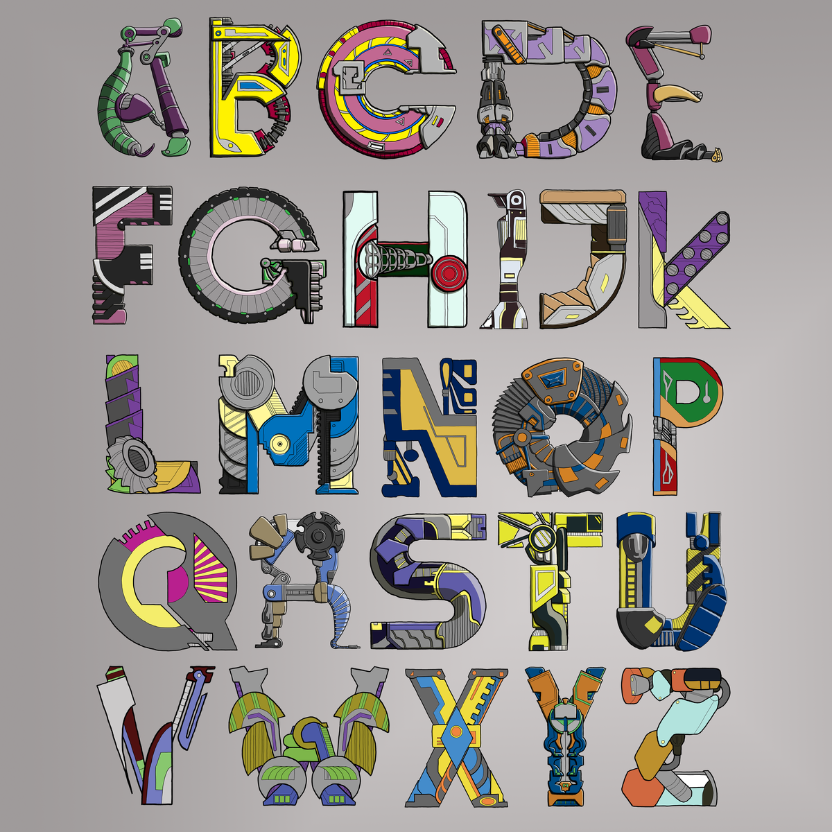 A-Z Capital letters Mechanical Typography