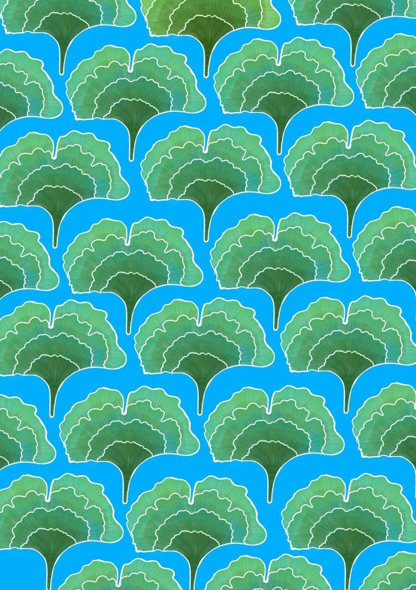 Ginkgo Blue Pattern